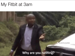 Running, Why, and You: My Fitbit at 3am  u/a_bunch_if_zeroes  Why are you running? Morning jog