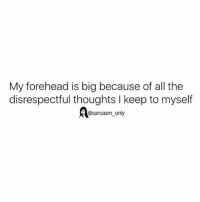 Funny, Memes, and Sarcasm: My forehead is big because of all the  disrespectful thoughts l keep to myself  @sarcasm only ⠀