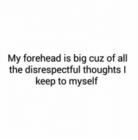 Memes, 🤖, and Forehead: My forehead is big cuz of all  the disrespectful thoughts l  keep to myself 😂😂😂😂😂😂😂