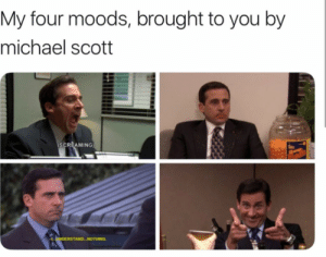 Michael Scott, Michael, and You: My four moods, brought to you by  michael scott  (SCREAMING  UNDERSTAND NOTHING