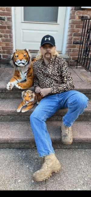 My friend's coworker dressed up as Joe Exotic and its SPOT on.: My friend's coworker dressed up as Joe Exotic and its SPOT on.