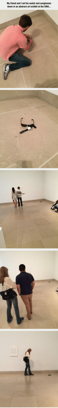 True, Sunglasses, and Watch: My friend and I set his watch and sunglasses  down in an abstract art exhibit at the DMA... <p>True Artists.</p>