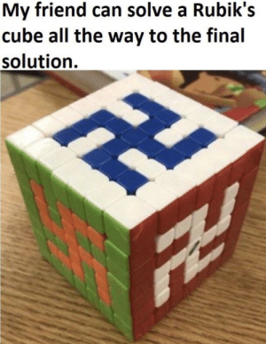 the final solution: My friend can solve a Rubik's  cube all the way to the final  solution.