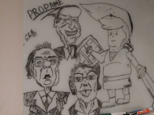 My friend drew Bobby Hill as Link, but his coworkers thought it was Trump, so one thing led to another: My friend drew Bobby Hill as Link, but his coworkers thought it was Trump, so one thing led to another
