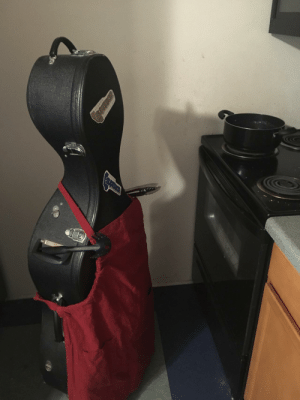 My friend is storing his cello at my place. I occasionally send him updates on how it's going.: My friend is storing his cello at my place. I occasionally send him updates on how it's going.