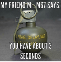 Memes, 🤖, and Delay: MY FRIEND Mr M67 SAYS.  FRAG, DELAY, M61  YOU HAVE ABOUT 3  SECONDS