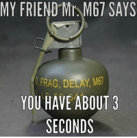 Memes, 🤖, and Delay: MY FRIEND Mr M67 SAYS  FRAG, DELAY, M61  YOU HAVE ABOUT 3  SECONDS Run. FragOut BAM247 Totalbadassness GYSOT USAUSAUSA RedWhiteBlue StillBetterThanYou Yessir Grenade
