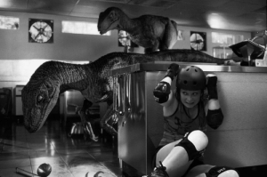 My friend plays roller derby. A photographer caught an interesting picture of her during a championship game and I felt it needed more dinosaurs…: My friend plays roller derby. A photographer caught an interesting picture of her during a championship game and I felt it needed more dinosaurs…