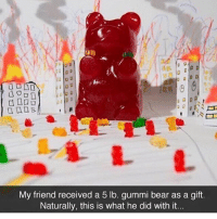 Drake, Kardashians, and Memes: My friend received a 5 lb. gummi bear as a gift.  Naturally, this is what he did with it. 😂😂😂lmao - - - - - - 420 memesdaily Relatable dank MarchMadness HoodJokes Hilarious Comedy HoodHumor ZeroChill Jokes Funny KanyeWest KimKardashian litasf KylieJenner JustinBieber Squad Crazy Omg Accurate Kardashians Epic bieber Weed TagSomeone hiphop trump ovo drake