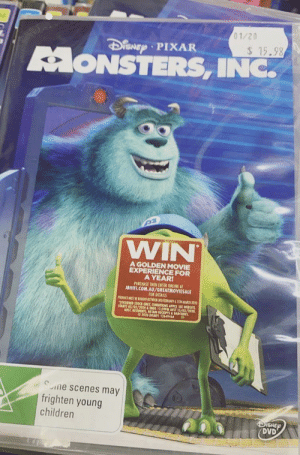 My friend that works in our media department did this to every copy of monsters inc…: My friend that works in our media department did this to every copy of monsters inc…