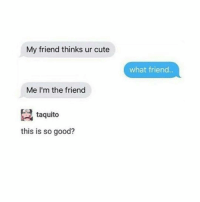 Memes, 🤖, and Friends Life: My friend thinks ur cute  Me I'm the friend  taquito  this is so good?  what friend.. Life is fine and I am grateful