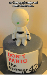 <p>Birthday Cake On Point.</p>: My friend turned 42 todayand  got this birthday cake...  DONT  PANIC  the  nswer <p>Birthday Cake On Point.</p>