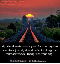 railroad: My friend waits every year for the day the  sun rises just right and reflects along the  railroad tracks, loday was that day!  /didyouknowpagel @didyouknowpage