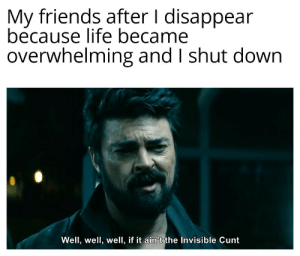 Dissociation is not fun: My friends after I disappear  because life became  overwhelming and I shut down  Well, well, well, if it ain't the Invisible Cunt Dissociation is not fun