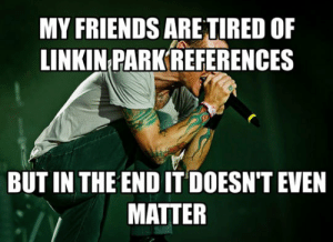 Friends, Tumblr, and Blog: MY FRIENDS ARE TIRED OF  LINKIN PARK REFERENCES  BUT IN THE END IT DOESN'T EVEN  MATTER srsfunny:  Takes Me One Step Closer To The Edge