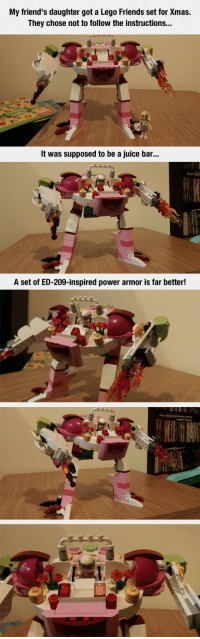 Friends, Juice, and Lego: My friend's daughter got a Lego Friends set for Xmas.  They chose not to follow the instructions...  It was supposed to be a juice bar..  A set of ED-209-inspired power armor is far better! srsfunny:Best Juice Bar I've Ever Seen