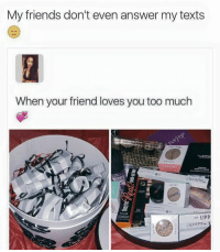 Memes, 🤖, and Answeres: My friends don't even answer my texts  When your friend loves you too much  MINERME  ca o  a LIPP 😂😂