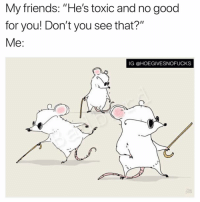 """Friends, Good for You, and Good: My friends: """"He's toxic and no good  for you! Don't you see that?""""  Me:  IG @HOEGIVESNOFUCKS Nope... don't see that..."""