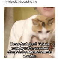 Friends, Gif, and Memes: my friends introducing me  Itsnotthathesevil. Helacks  empathyand he goes intoa  disassociative stateand commits  atrocities  GIF pleased to meet you