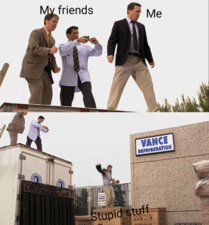 Friends, Meme, and Taken: My friends  Me  23.02  VANCE  REFRIGERATION  WECall  ENTRANCE  Stupid stuff  DEERGERATOR Super relatable meme taken from sitcom, invest now!!!