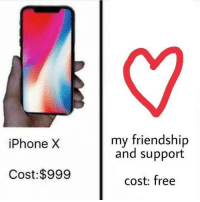 "<p>Just to let y'all know :) via /r/wholesomememes <a href=""http://ift.tt/2xMMWau"">http://ift.tt/2xMMWau</a></p>: my friendship  and support  iPhone X  Cost:$999  cost: free <p>Just to let y'all know :) via /r/wholesomememes <a href=""http://ift.tt/2xMMWau"">http://ift.tt/2xMMWau</a></p>"