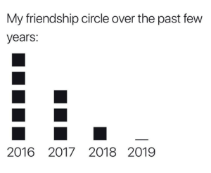 My Friendship: My friendship circle over the past few  years:  2016 2017 2018 2019