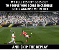Emoji, Fifa, and Football: MY FULL RESPECT GOES OUT  TO PEOPLE WHO SCORE INCREDIBLE  GOALS AGAINST ME IN FIFA  AND SKIP THE REPLAY Class act. 🔺FREE FOOTBALL EMOJI APP -> LINK IN BIO!!! Credit ➡️ @thefootballarena