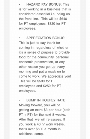 My G/F just received this email from her boss. She works at a grocery store and they are taking care of her in the midst of this virus.: My G/F just received this email from her boss. She works at a grocery store and they are taking care of her in the midst of this virus.