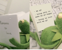 Fresh, Love, and Meme: - my gf  ons  to  being able to  make my gf happy  - being in love  with my gf  Liv cutekermit:  aint nothin better than a New Fresh Kermit Gf Meme