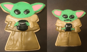 My girlfriend's baby Yoda cookie vs whatever the hell I made: My girlfriend's baby Yoda cookie vs whatever the hell I made