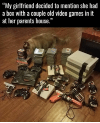 "Memes, Video Games, and 🤖: ""My girlfriend decided to mention she had  a box with a couple old video games in it  at her parents house.""  LOD Shes a keeper!"