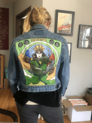 My girlfriend painted this jean jacket over the weekend.: My girlfriend painted this jean jacket over the weekend.