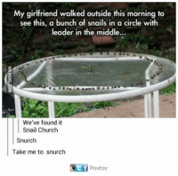 Snailed: My girlfriend walked outside this morning to  see this, a bunch of snails in a circle with  leader in the middle...  We've found it  Snail Church  Snurch  Take me to snurch  Oitf Postize