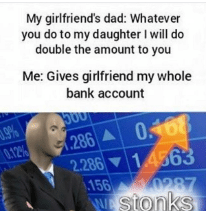 stonk: My girlfriend's dad: Whatever  you do to my daughter I will do  double the amount to you  Me: Gives girlfriend my whole  bank account  96  286 0168  0.12%  14363  2.286  156  0287  WAstonks stonk