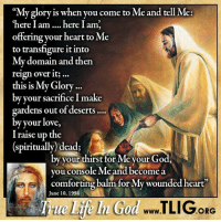 """Memes, 🤖, and Reign: """"My glory is when you come to Me and tell Me  """"here I am here I am.  offering your heart to Me  to transfigure it into  My domain and then  reign over it...  this is My Glory...  by your sacrifice I make  gardens out of deserts....  by your love,  I raise up the  (spiritually dead;  by your thirst for Me your Go  you console Me and become a  une balm for My wounded heart'  10, 1994  ORG Is your loved one far from God? Give your love and heart to Jesus, and He will raise their souls to love Him! http://www.tlig.org/en/messages/1149/"""
