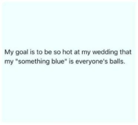 "hotness: My goal is to be so hot at my wedding that  my ""something blue"" is everyone's balls"
