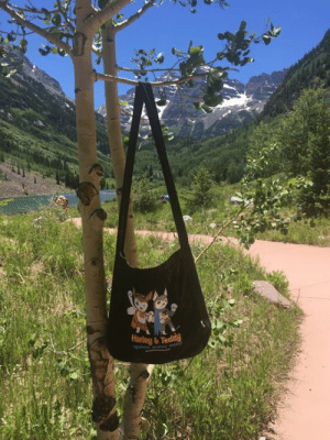 Beautiful, Memes, and Colorado: My good friend Sandy took this great photo of her Superheroes market bag with the beautiful Maroon Bells (in Colorado) in the background. Thanks for sharing and for educating about puppy mills on your travels, Sandy!  These awesome bags are still available and they make great conversation-starters:  https://harleys-dream.myshopify.com/collections/superheroes-against-puppy-mills