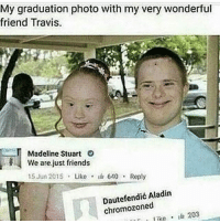 Af, Cute, and Friends: My graduation photo with my very wonderful  friend Madeline Stuart  We are just friends  15 Jun 2015  Like  640 Reply  Aladin  chromozoned  like  203 omg shes so cute tho and the guy in the background is me af
