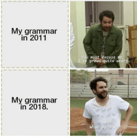 Be Like, Quite, and Dank Memes: My grammar  in 2011  You must excuse me  I've grown quite weary  紓  My grammar  in 2018.  What  no It do be like that sometimes