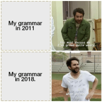 Quite, Grammar, and You: My grammar  in 2011  You must excuse me.  I've grown quite weary  My grammar  in 2018.  What  now
