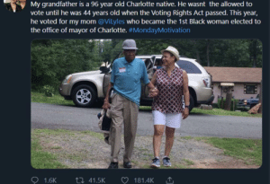 The fact he was able to live through the hardship of the Great Depression, segregation, and the Second World War yo see his daughter become the first black mayor of a major city is truly incredible via /r/wholesomememes https://ift.tt/355rBXx: My grandfather is a 96 year old Charlotte native. He wasnt the allowed to  vote until he was 44 years old when the Voting Rights Act passed. This year,  he voted for my mom @Vilyles who became the 1st Black woman elected to  the office of mayor of Charlotte. #MondayMotivation  ti 41.5K  1.6K  181.4K The fact he was able to live through the hardship of the Great Depression, segregation, and the Second World War yo see his daughter become the first black mayor of a major city is truly incredible via /r/wholesomememes https://ift.tt/355rBXx