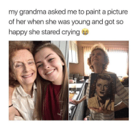 """Crying, Cute, and Grandma: my grandma asked me to paint a picture  of her when she was young and got so  happy she stared crying <p>They are so cute together! via /r/wholesomememes <a href=""""https://ift.tt/2sMjIV0"""">https://ift.tt/2sMjIV0</a></p>"""