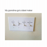 Grandma, Memes, and Russia: My grandma got a label maker  RUSSIA?  FAN  KITCHEN LIVING ROOM 😂😂😂