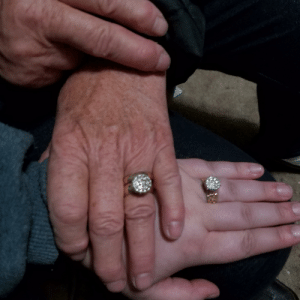 My grandma has a ring that is her most prized posession. She's always said one day she would pass it down to me. Now, I am the first person in our family to get a Master's Degree, and as I lined up for graduation, she handed me my own...identical to hers and told me she was proud of me.: My grandma has a ring that is her most prized posession. She's always said one day she would pass it down to me. Now, I am the first person in our family to get a Master's Degree, and as I lined up for graduation, she handed me my own...identical to hers and told me she was proud of me.