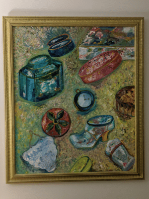 My Grandmother has been painting since she was a teenager. She's never made a penny from any of her art. She's paints only for the joy of being creative. My relatives and I have each have multiple paintings from her in out homes. This is one is from '96.: My Grandmother has been painting since she was a teenager. She's never made a penny from any of her art. She's paints only for the joy of being creative. My relatives and I have each have multiple paintings from her in out homes. This is one is from '96.