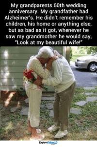 "Memes, Saw, and Alzheimer's: My grandparents 60th wedding  anniversary. My grandfather had  Alzheimer's. He didn't remember his  children, his home or anything else,  but as bad as it got, whenever he  saw my grandmother he would say,  ""Look at my beautiful wife!""  Talent  Explore This just made my eyes water 😔💔"
