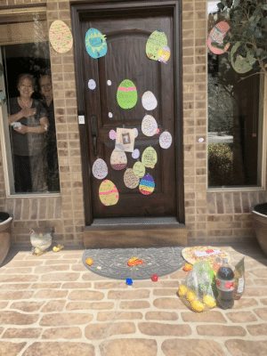 My grandparents are quarantining and we're very sad that all of the grandkids wouldn't be able to come over for Easter tomorrow. So we 'egged' their door and brought them their favorite things (Diet Coke and lemons and papa Murphy's pizza (we sanitized everything)).: My grandparents are quarantining and we're very sad that all of the grandkids wouldn't be able to come over for Easter tomorrow. So we 'egged' their door and brought them their favorite things (Diet Coke and lemons and papa Murphy's pizza (we sanitized everything)).