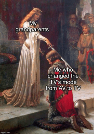 My grandparents really be like that: My  grandparents  Me who  changed the  TV's mode  from AV to TV  imgflip.com My grandparents really be like that