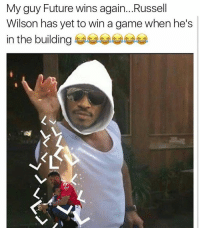 This is so wrong of y'all 😩😂 Falcons vs. Seahawks RussellWilson Future WSHH: My guy Future wins again... Russell  Wilson has yet to win a game when he's  in the building This is so wrong of y'all 😩😂 Falcons vs. Seahawks RussellWilson Future WSHH