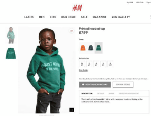 Someone at HM is bout to lose their job: My H&M H&M Club Signi  HM  LADIES MEN KIDS H&M HOME SALE MAGAZINE #HM GALLERY  Printed hooded top  マ £799  Green  Select size  OLEST MOW  THE JUNAE  1%  2Y 4Y 6Y 8Y10Y  Size Guide  Next Day Delivery, Nominated Delivery Slot, Pick-up in store and Standard Delivery in 2-3 days  ADD TO SHOPPING BAG  FIND IN STORE  DESCRIPTION  DETAILS  SHARE  DELIVERY AND PAYMENT  Top in soft, printed sweatshirt fabric with a wrapover hood and ribbing at the  cuffs and hem. Soft brushed inside. Someone at HM is bout to lose their job